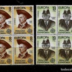 Sellos: ANDORRA - EUROPA - EDIFIL 133-134 - 1980 - BLOQUE DE CUATRO - NUEVOS. Lote 210957219