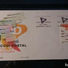 Sellos: SOBRE PRIMER DIA. ANDORRA ESPAÑOLA. CÓDIGO POSTAL. 25 DE OCTUBRE DE 2004. EDIFÍL 321.. Lote 211570185