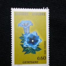 Sellos: ANDORRA, 060 CTS, FLORA, GENTIANE, 1975, SIN USAR.. Lote 213009272