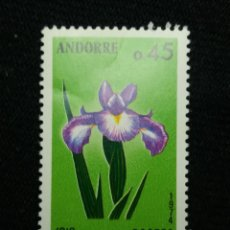 Sellos: ANDORRA, 0,45 CTS, FLORA, IRIS, 1975, SIN USAR.. Lote 213009391