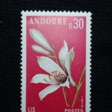 Sellos: ANDORRA, 0,30 CTS, FLORA, LIS, 1975, SIN USAR.. Lote 213009511