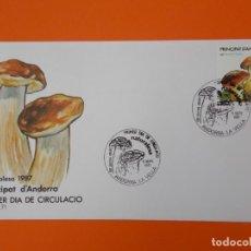 Sellos: NATURALUSA, BOLETUS - ANDORRA LA VELLA - MATASELLO 1987 - SOBRE PRIMER DIA DE CIRCULACION ... L1844. Lote 218625016