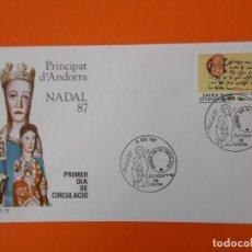 Sellos: NAVIDAD, NADAL 87 - ANDORRA LA VELLA - MATASELLO 1987 - SOBRE PRIMER DIA DE CIRCULACION ... L1846. Lote 218625276