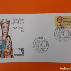 Sellos: NAVIDAD, NADAL 87 - ANDORRA LA VELLA - MATASELLO 1987 - SOBRE PRIMER DIA DE CIRCULACION ... L1847. Lote 218625375