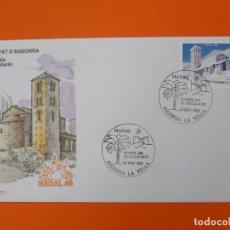 Sellos: NAVIDAD, NADAL 88 - ANDORRA - MATASELLO 1988 - SOBRE PRIMER DIA DE CIRCULACION ... L1850. Lote 218627446