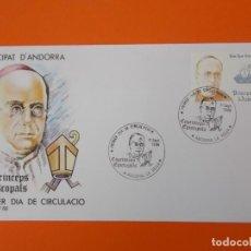 Sellos: COPRINCEPS EPISCOPALS - ANDORRA - MATASELLO 1986 - SOBRE PRIMER DIA DE CIRCULACION .. L1856. Lote 218628475