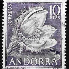 Sellos: ANDORRA 1966. VARIEDAD ERROR MANCHA DE TINTA VIOLETA. HELEBORUS CONI. Lote 218735773