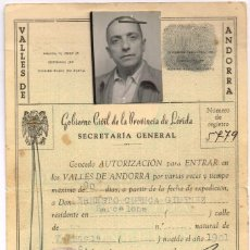 Sellos: 1955 SALVACONDUCTO GOBIERNO CIVIL DE LA PROVINCIA DE LÉRIDA PARA ENTRAR EN ANDORRA. Lote 221962946
