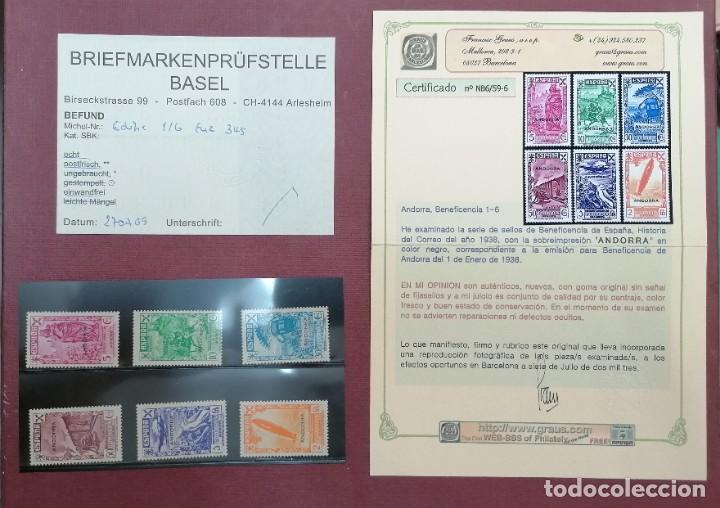 ANDORRA 1938 BENEFICENCIA EDIFIL 1/6 NUEVOS SIN CHARNELA CON CERTIFICADO GRAUS Y BASEL (Sellos - Extranjero - Europa - Andorra)