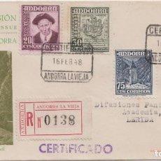 Sellos: CERTIFICADO MAT. PRIMER DIA VALLES DE ANDORRA 1948. Lote 225108305