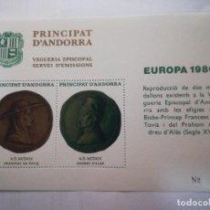 Sellos: HOJA DE BLOQUE ANDORRA 1980 MEDALLAS SIGLO XV CON GOMA. Lote 226620495
