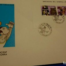 Sellos: SOBRE DE PRIMER 1992 ANDORRA LA VELLA. BARCELONA SEU OLIMPICA 1992. Lote 230790575