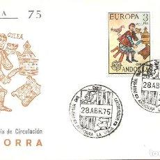 Sellos: SPD -FDC, ANDORRA ESPAÑOLA, 1975, TEMA EUROPA. Lote 235463640