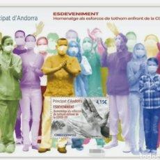 Sellos: ANDORRA ESPAÑOLA 2021 HOJA BLOQUE COVID-19 CORONAVIRUS VIRUS SANIDAD MÉDICOS PANDEMIA - NUEVA MNH. Lote 237212790