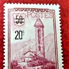 Timbres: ANDORRA FRANCESA. 48 IGLESIA DE S. MIGUEL DE ENGOLASTERS, CON SOBRECARGA. 1935. SELLO NUEVO CON CHAR. Lote 238351695