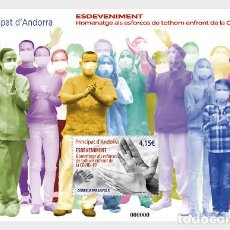 Sellos: SPANISH ANDORRA 2021 - TRIBUTE TO EVERYONE'S EFFORTS AGAINST CORONA SHEET MNH. Lote 245130860