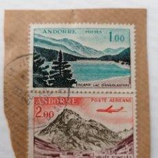 Sellos: ANDORRA FRANCESA. DOS SELLOS 1 Y 2 FRANCS PEGADOS A TROZO CARTA, MATASELLO ANDORRA 1952. Lote 252523810