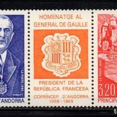 Sellos: ANDORRA 225A** - AÑO 1972 - HOMENAJE AL GENERAL DE GAULLE. Lote 253426830
