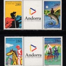 Sellos: ANDORRA 447/50** - AÑO 1995 - TURISMO Y DEPORTE EN ANDORRA - ALPINISMO - CICLISMO - HIPICA - PESCA. Lote 253428995