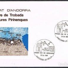 Sellos: .[C0193] ANDORRA 1984; FDC CREACIÓN DEL CENTRO CULTURAL PIRENÁCIVO (NS). Lote 254040715