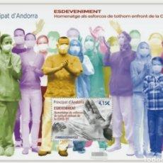 Sellos: ANDORRA ESPAÑOLA 2021 HOJA BLOQUE COVID-19 CORONAVIRUS VIRUS SANIDAD MÉDICOS PANDEMIA - NUEVO MNH. Lote 254683275