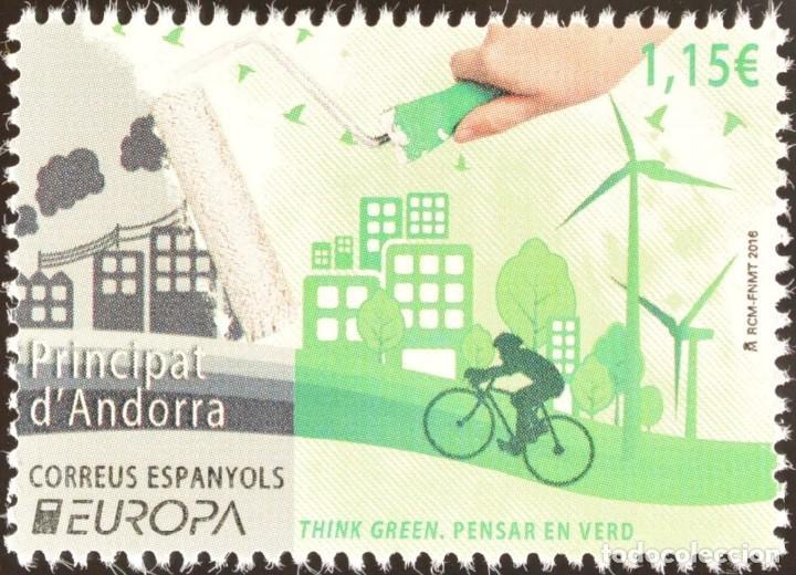 ANDORRA 2016 EDIFIL 442 SELLO ** EUROPA CEPT ECOLOGIA PENSAR EN VERDE, THINK GREEN MICHEL 438 (Sellos - Extranjero - Europa - Andorra)