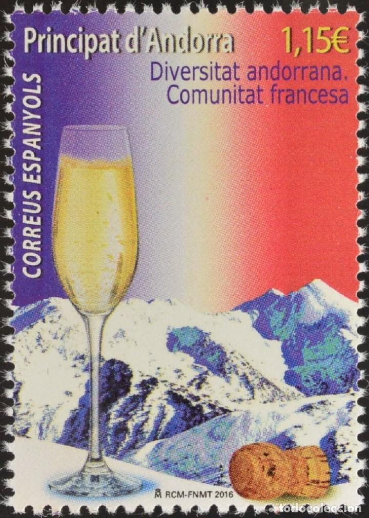ANDORRA 2016 EDIFIL 445 SELLO ** DIVERSIDAD ANDORRANA COMUNIDAD FRANCESA CHAMPAGNE PIRINEOS MI. 441 (Sellos - Extranjero - Europa - Andorra)