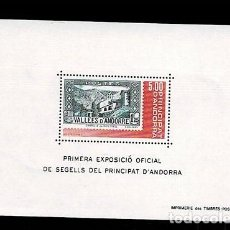 Sellos: NC-1-34 PRIMERA EXPOSICIO OFICIAL DE SEGELLS DEL PRINCIPAT D'ANDORRA HB Nº 1 SIN FIJASELLOS. Lote 288185628