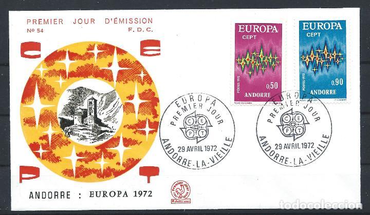 ANDORRE - FDC ENVELOPPE 29/4/1972 - N°217/18 EUROPA (Sellos - Extranjero - Europa - Andorra)
