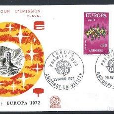Sellos: ANDORRE - FDC ENVELOPPE 29/4/1972 - N°217/18 EUROPA. Lote 288418833