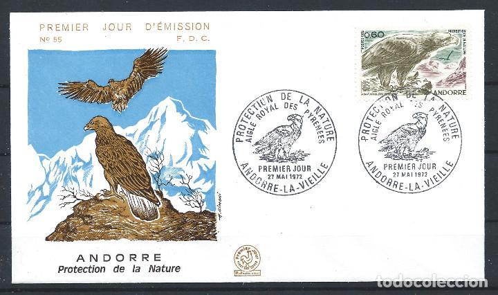 """ANDORRE - FDC ENVELOPPE 27/5/1972 - N°219 OISEAUX """"AIGLE ROYAL"""" (Sellos - Extranjero - Europa - Andorra)"""
