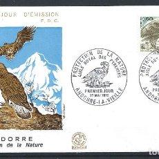 "Sellos: ANDORRE - FDC ENVELOPPE 27/5/1972 - N°219 OISEAUX ""AIGLE ROYAL"". Lote 288419343"