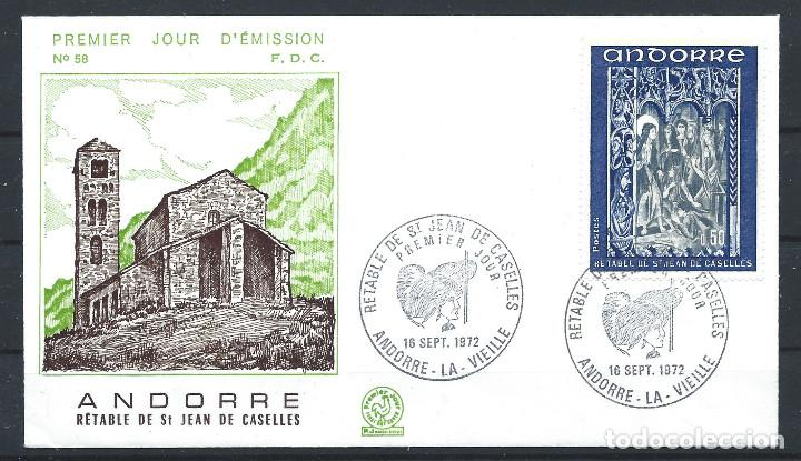 ANDORRE - FDC ENVELOPPE 18/9/1972 - N°222 RETABLE CHAPELLE ST. JEAN DE CASELLES (Sellos - Extranjero - Europa - Andorra)