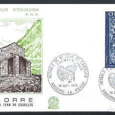 Sellos: ANDORRE - FDC ENVELOPPE 18/9/1972 - N°222 RETABLE CHAPELLE ST. JEAN DE CASELLES. Lote 288421363