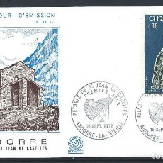 Sellos: ANDORRE - FDC ENVELOPPE 18/9/1972 - N°223 RETABLE CHAPELLE ST. JEAN DE CASELLES. Lote 288421368