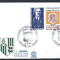 Sellos: ANDORRE - FDC ENVELOPPE 18/9/1972 - N°225A CHARLES DE GAULLE. Lote 288422358