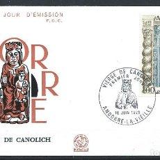 Sellos: ANDORRE - FDC ENVELOPPE 16/6/1973 - N°228 VIERGE DE CANOLICH. Lote 288428533