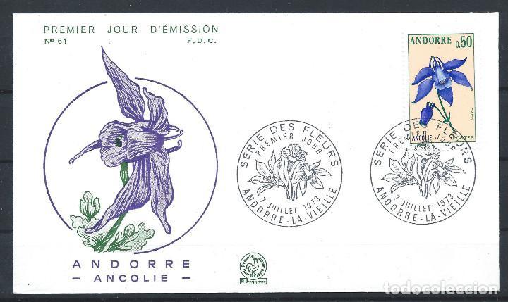 "ANDORRE - FDC ENVELOPPE 7/7/1973 - N°230 FLORE ""ANCOLIE"" (Sellos - Extranjero - Europa - Andorra)"
