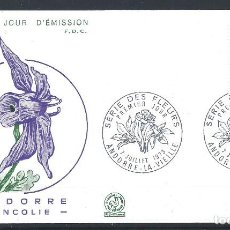 """Sellos: ANDORRE - FDC ENVELOPPE 7/7/1973 - N°230 FLORE """"ANCOLIE"""". Lote 288429098"""