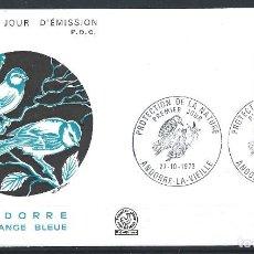 """Sellos: ANDORRE - FDC ENVELOPPE 27/10/1973 - N°232 OISEAUX """"MÉSANGE BLEUE"""". Lote 288430068"""
