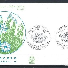 """Sellos: ANDORRE - FDC ENVELOPPE 6/4/1974 - N°235 FLORE """"TABAC"""". Lote 288861073"""