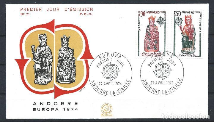 "ANDORRE - FDC ENVELOPPE 27/4/1974 - N°237/38 EUROPA ""SCULPTURES"" (Sellos - Extranjero - Europa - Andorra)"