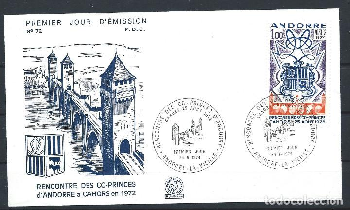 ANDORRE - FDC ENVELOPPE 24/8/1974 - N°239 RENCONTRE DES CO-PRINCE D'ANDORRE (Sellos - Extranjero - Europa - Andorra)