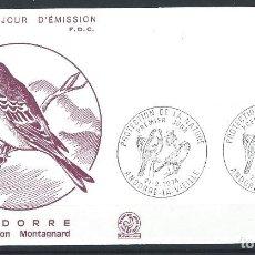 "Sellos: ANDORRE - FDC ENVELOPPE 21/9/1974 - N°240 OISEAUX ""VENTURON MONTAGNARD"". Lote 288863448"