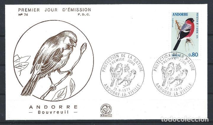 """ANDORRE - FDC ENVELOPPE 21/9/1974 - N°241 OISEAUX """"BOUVREUIL"""" (Sellos - Extranjero - Europa - Andorra)"""