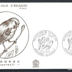 """Sellos: ANDORRE - FDC ENVELOPPE 21/9/1974 - N°241 OISEAUX """"BOUVREUIL"""". Lote 288863923"""