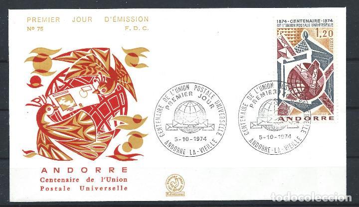 ANDORRE - FDC ENVELOPPE 5/10/1974 - N°242 CENTENAIRE DE L'U.P.U. (Sellos - Extranjero - Europa - Andorra)