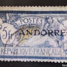 Sellos: SELLOS ANDORRA FRANCESA USADOS 1931 PRIMERA EMISIÓN SOBRECARGADA. 5 FRANCOS. Lote 293571123