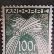 Sellos: SELLOS ANDORRA FRANCESA MNH 1946 TASA GAVILLAS. TIMBRE-TAXE 100 FRANCOS. Lote 294562288