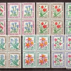 Sellos: ANDORRA FRANCESA. 1964-721. YVERT TASAS 46-52***. BLOQUE DE 4.. Lote 295543403
